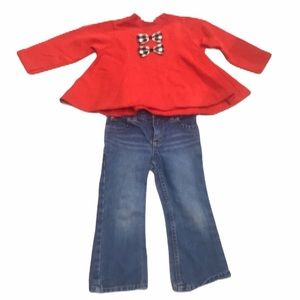 3T cold weather fall winter outfit jeans top bows